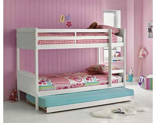 Unbranded Detachable White Bunk Bed with Trundle and