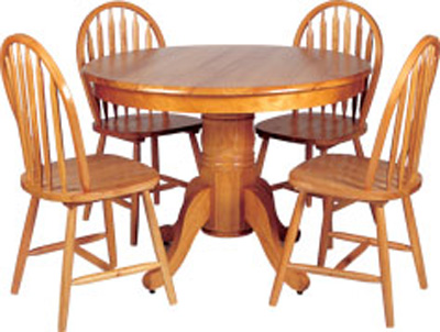 BOSTON DINING SET .42 ROUND TABLE WITH AN 8.25 PEDESTAL AND 4 CHAIRS.AVAILABLE IN AN ANTIQUE FINISH