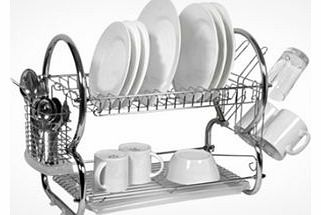 This is a Brand New item that is a customer return. Packaging may not be perfect and has been opened to check the contents.Designed for bigger families and those with limited space, this innovative two-tier dish drainer includes a dish rack, tumbler