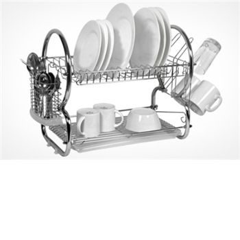 Designed for bigger families and those with limited space, this innovative two-tier dish drainer includes a dish rack, tumbler holder, cutlery holder, and drip tray. Made with sturdy chrome-plated steel, the durable drainer is available here in chrom