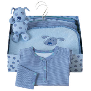 This blue spotty gift set contains a puppy rattle