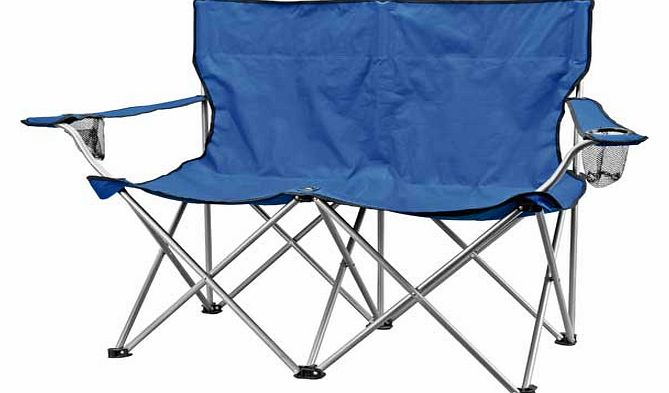 Sit back. relax and crack open a drink with this double folding camp chair with built-in drink holder. Ideal for taking with you on camping holidays or to festivals. it folds down flat for easy storage and comes with a bag for easy carrying. Made of