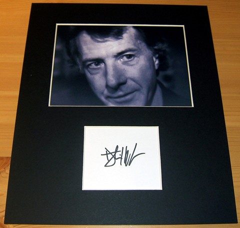 The signature of actor Dustin Hoffman - professionally mounted alongside a quality photograph to a