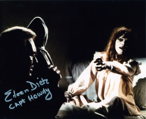 A colour photograph of Eileen Dietz as Captain Howdy in the 1973 film The Exorcist - signed in