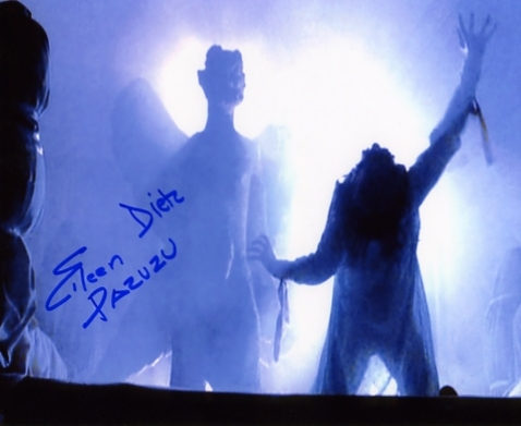 A colour photograph of Eileen Dietz as Pazuzu in the 1973 film The Exorcist - signed in blue pen