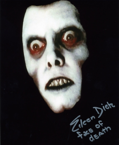 A colour photograph of Eileen Dietz as Pazuzu`s Face in the 1973 film The Exorcist - signed in