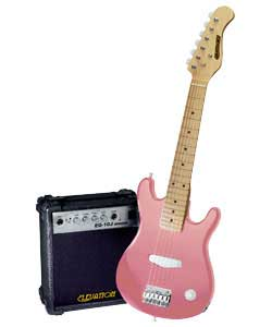 30in half size electric guitar in pink. Maple fretboard.1 single coil pickup. Volume control.Steel s