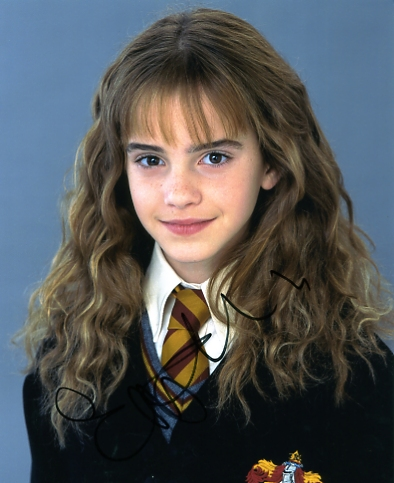Terrific colour photograph of the Harry Potter star which has been signed by Emma Watson in black