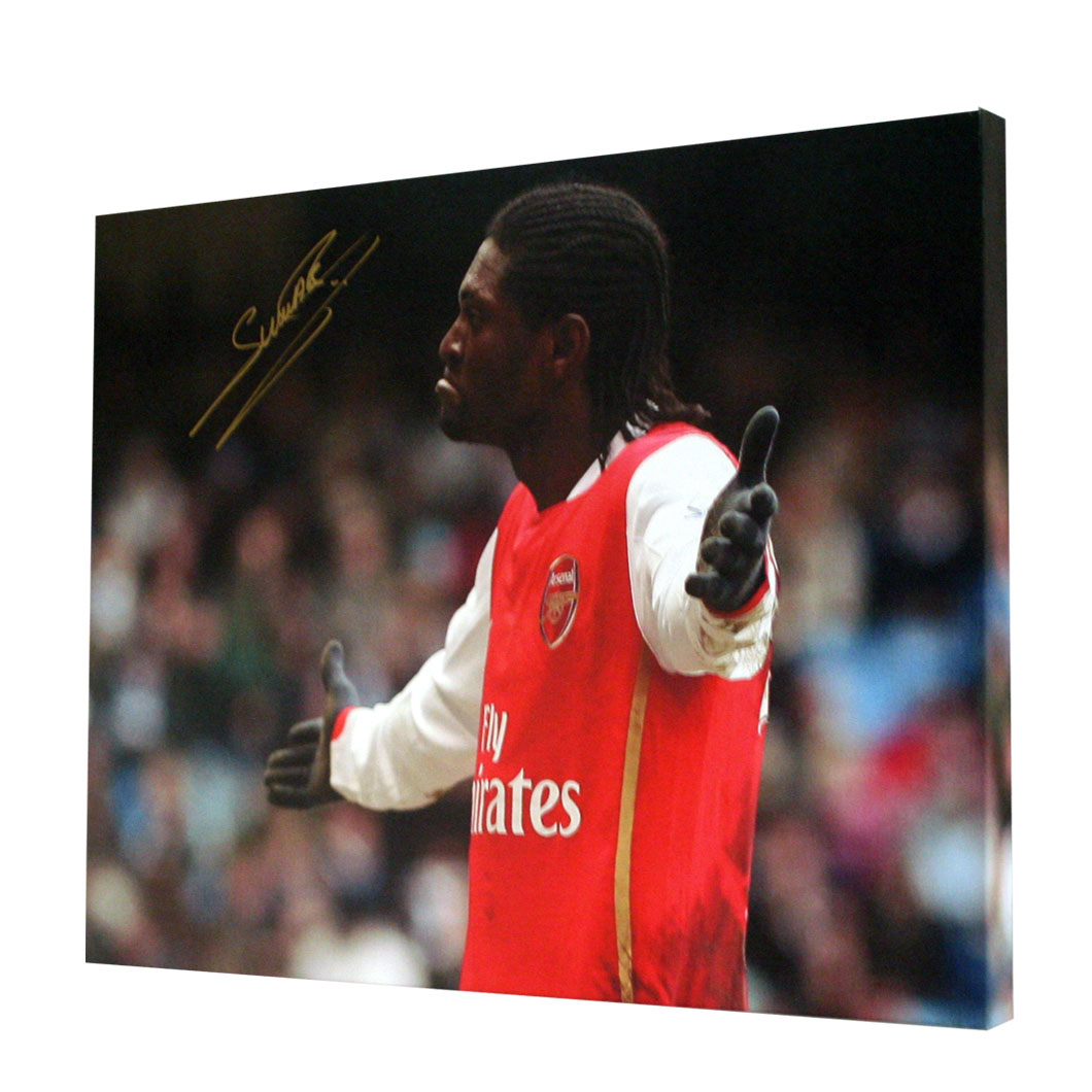 This canvas shows Adebayor celebrating after scoring for Arsenal against Manchester City. In a pose