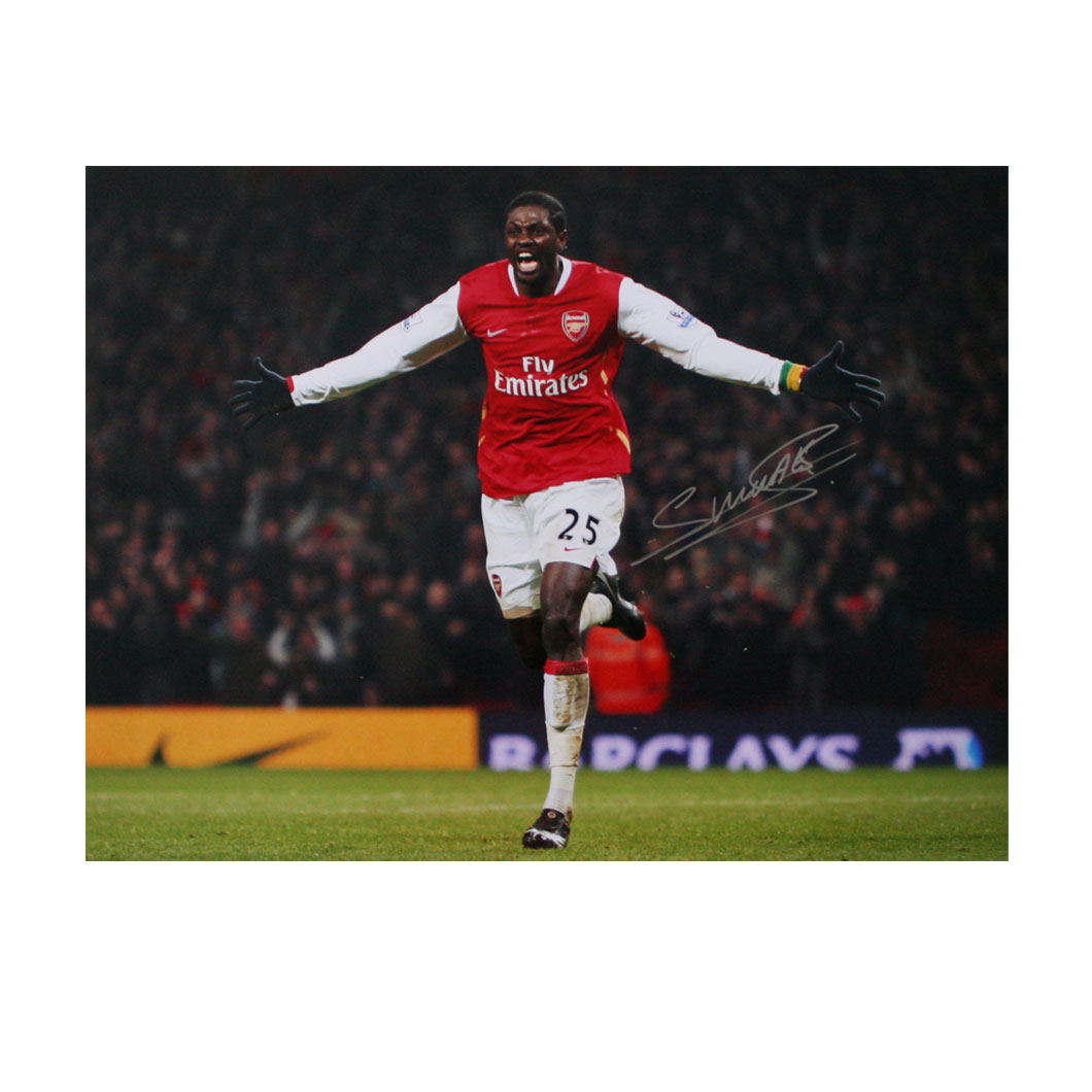 This photograph shows Emmanuel Adebayor with arms outstretched, passionately celebrating a goal for