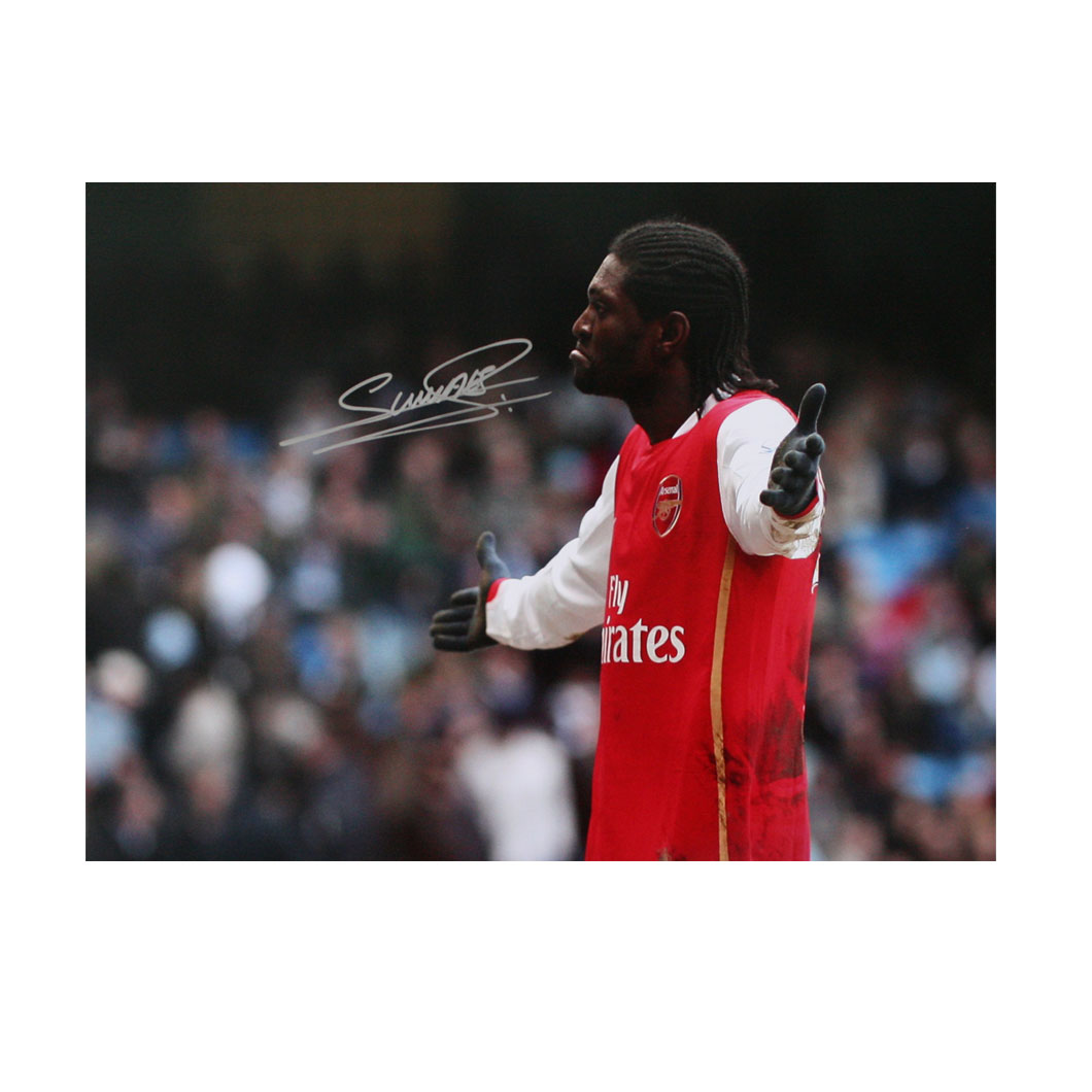 This photograph shows Emmanuel Adebayor celebrating after scoring for Arsenal against Manchester Cit
