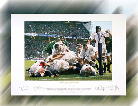 Each limited edition print has been individually signed by Richard Hill  Lawrence Dallaglio  Will