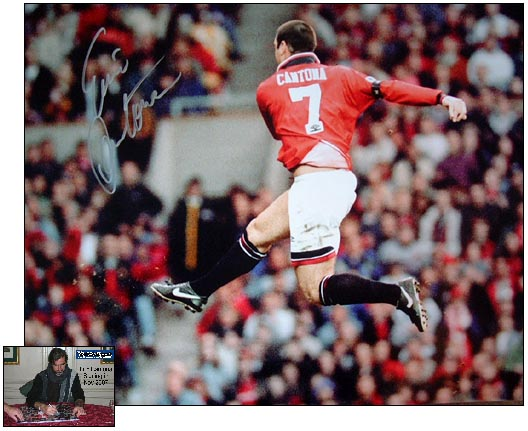 This superb item of signed Manchester United Memorabilia pays tribute to the legend, Eric Cantona. H