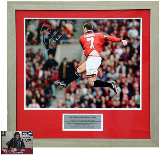 This superb item of signed Manchester United Memorabilia pays tribute to the legend, Eric Cantona.He