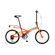This unique Exodus folding bike comes in burnt orange/black with 6 indexed gears and caliper brakes.