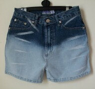 Attractive Babydoll faded denim shorts with white lines on