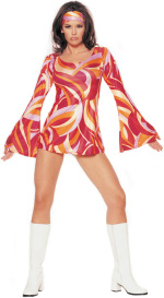 The Adult 2 Piece Retro Swirl Costume includes a swirl bell sleeved mini dress with headband.