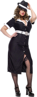 The fuller figure Adult 3 Piece Brass Knuckle Betty Costume includes a dress, belt with dollar sign