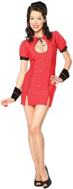 The Adult Belle Hop Bettie Costume includes a fitted mini dress with keyhole ribbon closure and gold