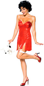Adult Betty Boop costume includes dress and wig.