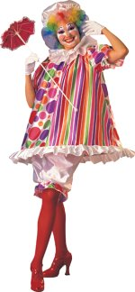Colourful and fun hooped clown dress with hat, collar and pantaloons.