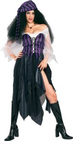 Costume includes head scarf, blouse, corset, and skirt.