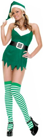 Deluxe elf suit includes cute bell-tipped hat and dress with black belt and green-striped stockings.