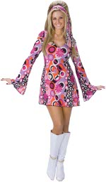 Feeling Groovy costume includes hippie dress with bell draped sleeves and matching headband.