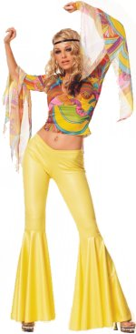 2 piece deluxe sixties style costume. Includes bell sleeved bright top, and bell bottomed trousers.