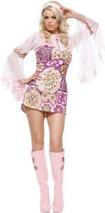 The Adult 2 Piece Flower Power Dress includes a print mesh bell sleeved dress and headband.