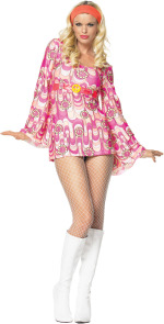The Adult 2 Piece Retro Peace Daisy Dress includes a bell sleeved dress with peace sign buckle and h
