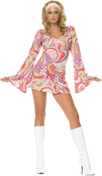 The Adult 2 Piece Vintage Paisley Dress includes a bell sleeved dress with headband.