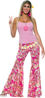 Sixties style Adult Flower Power Bell Bottoms with pink peace symbol pattern.