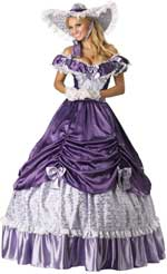 Adult Elite Quality Southern Belle Costume includes a long shimmering purple dress, hoop petticoat,
