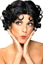 Deluxe official licensed Betty Boop wig with tight styled black curls.