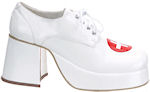White patent doctor shoes wih red cross detail.
