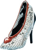 Shimmering sliver sequined nurse shoe covers featuring red heart with white cross detail.