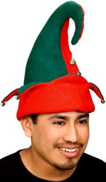 Unisex two colour Christmas hat with two tone green