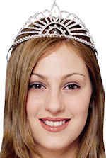 Socialite tiara embellished with faux gems and with attached combs to keep in place.