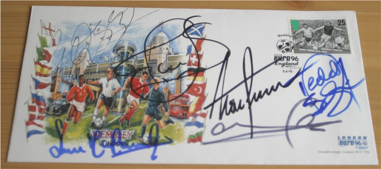This is a First Day Cover which has been signed by five England players from the Euro