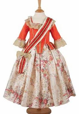 An elaborate historical dress with a rose printed skirt. bold peplum detail and lace trimming. Finished with a red and ivory sash. This style has a back zip fastening. Suitable for height 98 to 110cm. For ages 3 years and over. Polyester. EAN: 501456