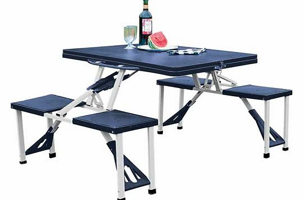 This camping table and stools is the ideal dining solution for camping. events or even at the beach. This item folds down into a carry case for easy storage. Made of resin with steel frame. Folds for storage. Table size H67. L85.5. D65.5cm. EAN: 9278