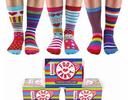 Foot Kandy - 6 Odd Socks for girlsThe Foot Kandy gift box of socks is a guilt free choco-lovers dream. All the sock colours of the Foot Kandy - 6 Odd Socks for girls have been inspired by colours from favourite sweets and chocolates from childhood to