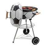 Charcoal BBQ with enamelled lid and bowl. 44cms. diameter chrome-plated cooking grill. With wheels