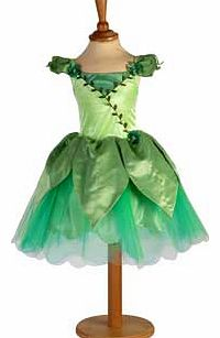 This vibrant green costume is full of woodland charm. with its pretty leaf shaped layers and coloured netting to create a full skirt. The bodice is finished with a leaf braid and includes a sparkling jewelled flower detail at the waist. Suitable for