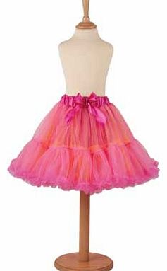 An adorable orange and cerise layered tutu skirt which is light. frothy and fun. This is and essential wardrobe piece for any budding dancer or the fashionable young girl. With a pretty satin waistband and bow detail. hand washable. Suitable for heig