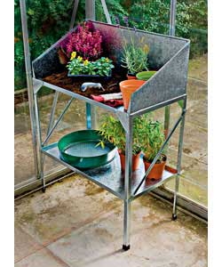 Made from galvanised 22 gauge steel. Easily assembled. Perfect greenhouse workstation. Size (H)77, (