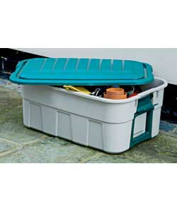Storage crate with clip on lid.Ideal for use in garden, garage and around the home.Beige with green