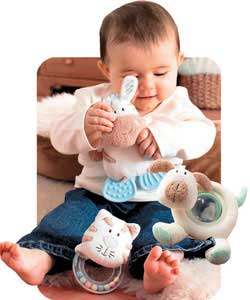 A great value set of toys for babys development including spinning ball rattle, teether and ring