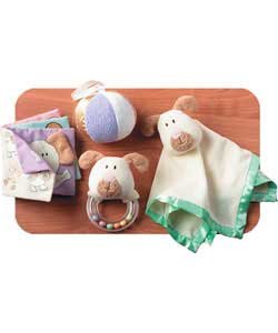 This great value set includes a comforting blankie, chime ball, grabber ring rattle and babys first
